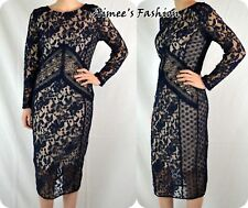 NEXT NEW TAGGED £60 LADIES UK 10 NAVY LACE NUDE LINED DRESS 392