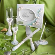 Personalized Beach Theme Guest Book Pen Toasting Flutes Cake Server Wedding Set