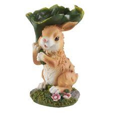"Large Bunny With Leaf Figurine Garden Yard Indoor/Outdoor 11"" High Rabbit Statue"