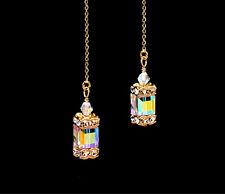 *CKstella*  Glittering Cube 14K Gold gf Thread Threader w/ Swarovski Crystal AB