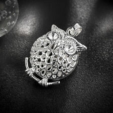 Hot Sale Cartoon Cut Owl Design Solid Silver Necklace Pendants For Woman
