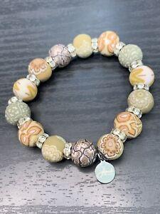 JILZARAH Premium Handmade Clay Beads Earthy Moss Rhinestone Stretch bracelet