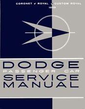 1959 Dodge Coronet Royal Custom Shop Service Repair Manual Supplement