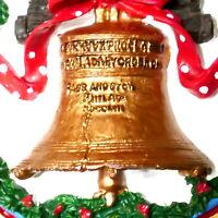 "Christmas Ornament Ceramic PHILADELPHIA LIBERTY BELL AMERICANA 3"" USA SELLER"