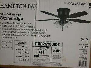Hampton Bay Stoneridge 52 in. Matte Black Hugger LED Ceiling Fan New