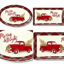 Red Pickup Truck Christmas Serving Platter And Serving Tray Kitchen Farm house