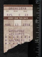 Vintage Nazareth Ticket Stub March 13 1981 Stanley Theater Pittsburgh tob