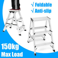 Foldable Portable Aluminium  Double sided 3 Step Ladder 150kg Capacity 16x33.5cm