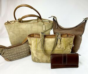 Coach Brown Tan Leather/Suede Totes/Hobos/Wallet #5168 - Lot of 5
