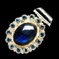 "Labradorite, Blue Topaz 925 Sterling Silver Pendant 1 1/2"" Jewelry P701560F"