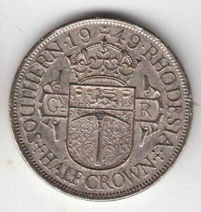 RHODESIA HALFCROWN 1949 KING               19P            BY COINMOUNTAIN