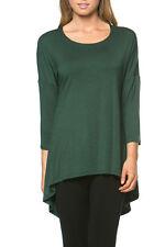 Long TUNIC TOP Slouchy Loose T Shirt Dress Scoop Neck Drape High Low Hem Womens
