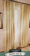 """2 pc Canterbury Stripe 100% Silk Drape Panels (1 Pair) 84"""" x 96"""" NIP"""