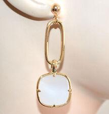 ORECCHINI donna oro dorato pendenti ovali pietra avorio eleganti boucles A94