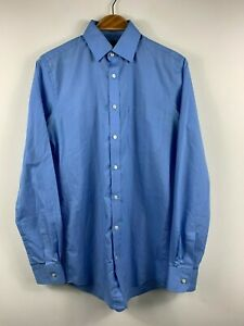 Mens Blue Long Sleeve Button Up Shirt Marks and Spencer Size 37 Slim Business