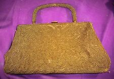 VINTAGE  MID CENTURY HAND BEADED WALBORG HANDBAG/PURSE  GLASS  BEADS BELGIUM
