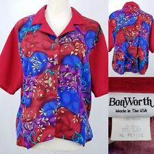 90s BonWorth USA Red Rayon Button Front Tie Back Collared Shirt Blouse XL Petite