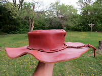 Antique Old Handcrafted Western Rogue Leather Hat Distressed Cowboy Hat OLD WEST