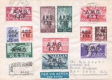 1947 TRIESTE A AMG-FTT FDC CON 12 VALORI EMESSI IL 01/10/47 VIAGGIATA PER USA