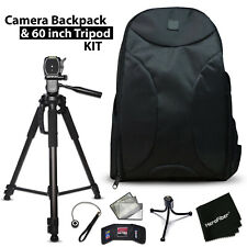 Premium Camera Backpack + 60' Tripod f/ Canon Eos 80D, 70D, 60D, 7D, 6D, 5D, 5Ds