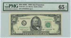 1950C $50 FRN Federal Reserve Note San Francisco PMG Gem UNC 65 EPQ