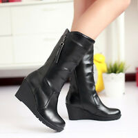 Womens Synthetic Leather Shoes Wedge Heels Side Zip Mid Calf Boots Shoes Size 43