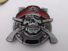 Silver / enamel Caribbean Pirate Skull & Cutlass 3D Metal Belt Buckle