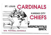 1978 St. Louis Cardinals Kansas Cityi Chiefs Missouri Tigers Pocket Schedule