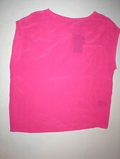 NWT LAMB New Punk Pink Short Sleeve Silk Top Blouse XS Womens Designer Bright