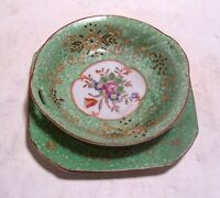 2 Piece Vintage Ornate Hand-Painted Porcelain Green Candy Dish Made in Japan 6""