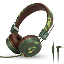 Yomuse C89 Adjustable Foldable Teens Childrens Kids Headphones w/ Mic Camo Green