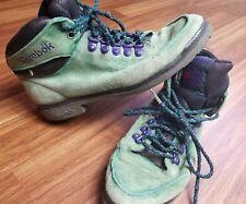 RARE Vintage Womans 8 Reebok Gree Purple Black Low Shoes Boots Lace 90s Comfort