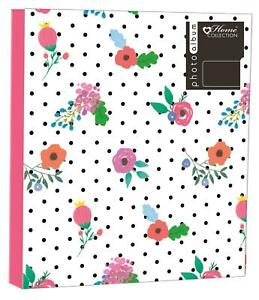 PHOTO ALBUM 4X6 OR 5X7 IN 200 OR 104 OR 80 PHOTOS SMALL FLOWER POLKA DOT DESIGN