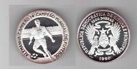 ST THOMAS & PRINCE - SILVER 1000 DOBRAS PROOF COIN 1990 KM#47 FOOTBALL GERMANY