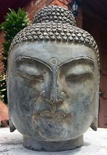 CHINESE INDIA HINDU HAND CARVED LARGE STONE ANTIQUE BUDDHA HEAD SCULPTURE 50 LBS