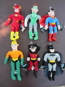6 Warner Bros Studio Store Bean Bag NWT Batman Robin Superman & Justice League
