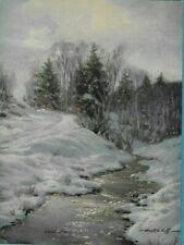 "C. Westchiloff, Snow, Water, Trees, Salesman Sample Calendar Print 8""x6"" 1940's"