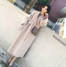 Womens Lapel Cashmere Wool Blend Outwear Long Waistband Slim Fit Trench Coat Hot
