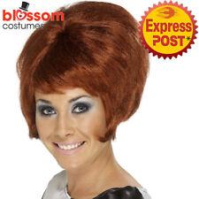 W464 Womens 60's Beehive Wig Auburn Short Mod Flick Cilla Costume Accessories