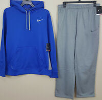 NIKE KO THERMA-FIT SWEATSUIT HOODIE + PANTS ROYAL BLUE GREY NWT RARE (SIZE XL)
