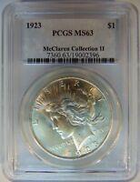 1923 Silver Peace Dollar PCGS MS 63 McClaren Collection Hoard Pedigree Rare Coin