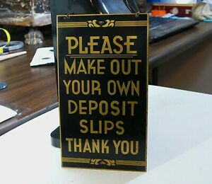 "3.75"" x 6.5"" Vintage Brass Bank Teller Sign - Make Out Your Own Deposit Slips"