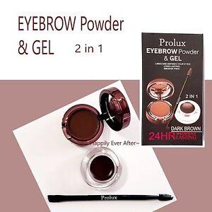 Prolux Waterproof Eyebrow Powder & Gel, Long Lasting, Smudge Free- Dark Brown