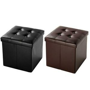 Folding Ottoman Bench Footstool Cube Box Footrest Furniture Home Storage