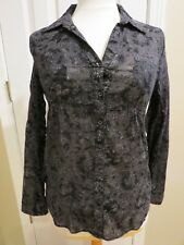 MILEY CYRUS Juniors Size L Long Sleeve Button Down Sheer Floral Print Shirt Top
