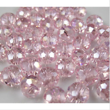 Diy Jewelry 100pc 4*6mm Faceted Rondelle glass crystal Beads pink+AB