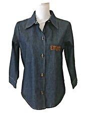 ENYCE Button Front Denim Shirt 3/4 Sleeve Dark Wash Women's Size L NWT $58