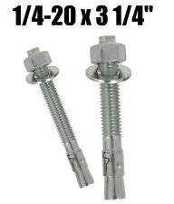 "(Qty 100) 1/4-20 x 3-1/4"" Concrete Wedge Anchor Zinc Plated"