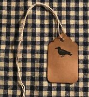 100 XSMALL CROW Coffee Stained Primitive Antique Store Price Gift Hang Tags Lot