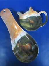 Stag Spoon Rest & Matching Stag Tea Bag Dish - Highland Stag Set - New